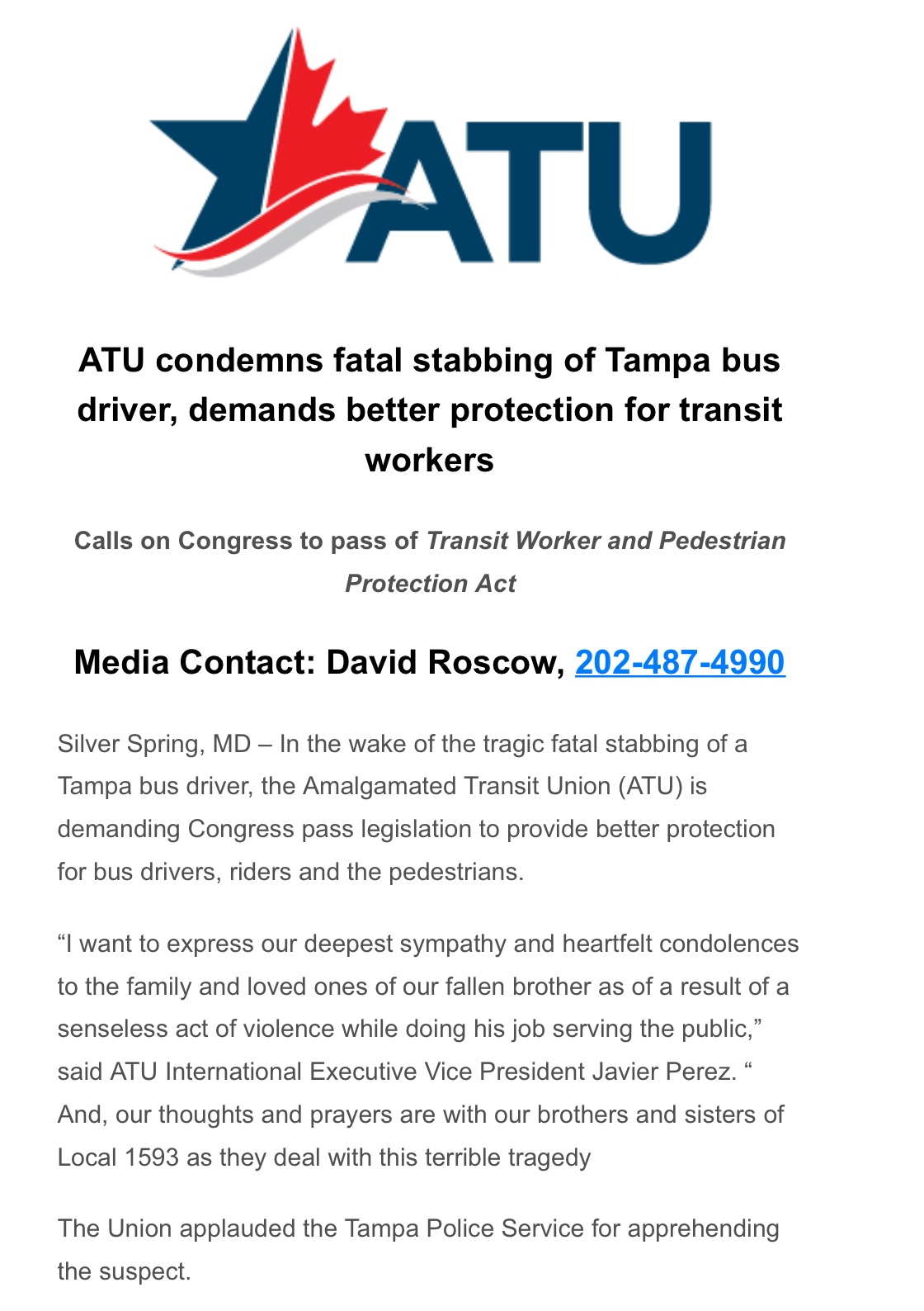 Atu Calendar.Amalgamated Transit Union Local 265